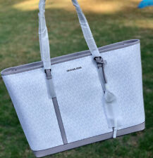 Michael Kors Jet Set Carryall Signature Optic White XL Travel Weekender Tote
