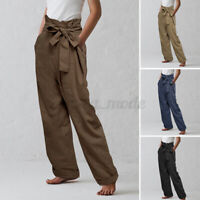 UK Women's Summer Cotton Trousers Ladies Loose Casual Belted Waist Pants Bottoms