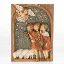 Bas relief bergers Crèche d'Autun bois peint