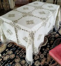 "Antique Madeira Tablecloth with 12 Napkins, Cutwork & Embroidery 90"" x 70"""