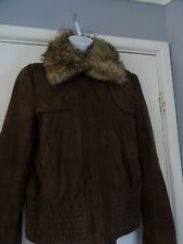 Gorgeous Ladies Mango Brown Leather Suede Jacket, Size L