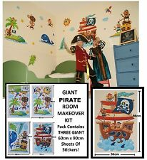 GIANT Childrens Kids Boys Girls Bedroom MONKEY PIRATE SEA FISH  Wall Stickers