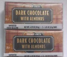 6 Trader Joe's 56% Dark Chocolate ALMOND Candy Bars NO ARTIFICIAL COLORS/FLAVORS