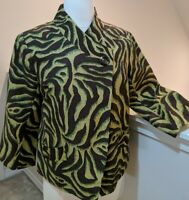 Silkland SZ Small Animal Print Jacket 3/4 Sleeves Shell 100% Silk Asymmetrical