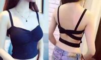 Womens Strappy Bra Tank Top Bustier Vest Crop Top Bralette Blouse Black 1955