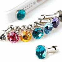 10 Crystal Rhinestone Anti Dust Earphone Plug Cover Stopper Cap Cell Phone 3.5mm