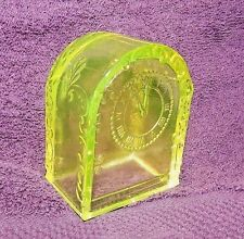 """VASELINE GLASS Candy Container MANTLE CLOCK Filigree 3 1/4"""" h Westmoreland Glows"""