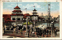 Postcard WATER & BRIDGE, LUNA PARK Amusement Park, Cleveland OH, c1910 Unposted