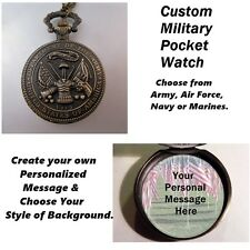 "CUSTOM Personalized USA Army Military Pocket Watch & 31"" Chain Necklace Unisex"