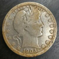 1903-O Barber Quarter Very Good VG or Fine Details Old cleaning
