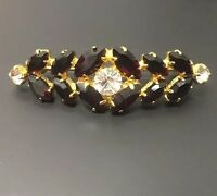 Vintage Ruby Red & Gold Tone Pin / Brooch Bar Pin Sparkle Elegant Black
