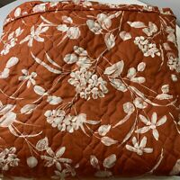 """vintage Waverly quilted bedspread coverlet tan cream floral design twin 12""""drop"""