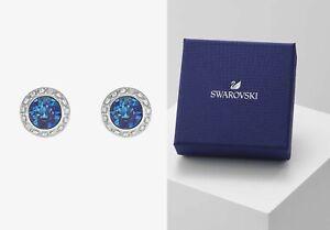 New in Gift Box SWAROVSKI Brand 5536770 Rhodium Blue Angelic Pave Stud Earrings