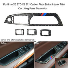 Carbon Fiber Door Window Lifter Button Frame Cover For BMW X5 E70 X6 E71 O6M8