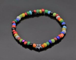 Stern Hämatit Edelstein Rocailles Perlen Armband Bunt Regenbogen Boho Hippie NEU