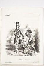 Le CHARIVARI 10 Oct 1833 Litho PIGAL Cireur de Chaussures Caricature