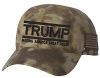 TAC600 Kryptek Adj. Trump 2020 Making America Great Again Hat with Flag on side