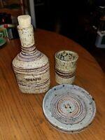 Denmark Tue Poulsen Ceramic Snaps Schnapps Flask Bottle, vase, coaster