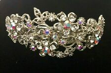 Floral Crystal Rhinestone Hair Barrette - Prom Bridal Formal Hair Clip Headpiece