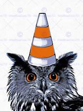 PAINTING OWL WEARING TRAFFIC CONE GLASGOW STYLE ART PRINT POSTER HP1726