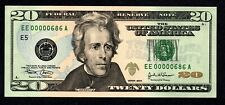 Fancy LOW # EE00000686A $20 Birth Month/ Year note, Uncirculated June 1986 6/86