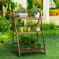 3 Tier Flower Plant Pot Shelf Stand Display Ladder Garden Rack Step Style Wooden