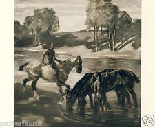 An der Tränke Kunstdruck von 1927 Angelo Jank Pferd Akt Fluss München gay Wasser