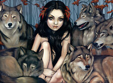 Jasmine Becket-Griffith art print SIGNED Raised by Wolves werewolf pack autumn
