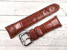Locman Cinturino Stampa Coccodrillo Marrone 26mm Ansa Curva Fibbia Originale New