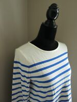 TALBOTS OFF WHITE/MARINE BLUE STRIPED NAUTICAL LONG SLEEVE TOP-SIZE S