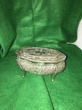 Vintage Jewelry Box Trinket Oval Luis XV Scene on lid Silver color Mark A.K.S.