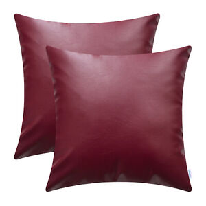 "2Pcs Square Throw Pillow Solid Cushion Cover Case Shell Faux Leather 16"" 18"" 20"""
