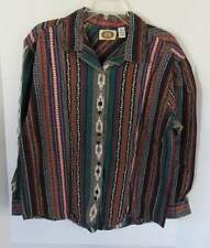 Women's CM Company Mosaic Button Down Shirt Size L