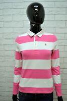 Polo RALPH LAUREN Donna XS Shirt Manica Lunga Maglia Righe T-Shirt Elastica Slim