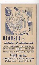 1944, UX27 Los Angeles California, Advertising, Ladies Blouses Hollywood