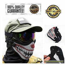 Airsoft Steel Half Face Mesh Mask Tactical Custom 2 Strap Support Hunting Clown