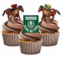 PRECUT Horse Racing Grand National Themed 12 Edible Cupcake Toppers Decorations