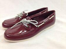 Sebago Shoes Womens 11M Maroon Shelton Two Eye Rubber Wellie Shoe Lace Up Flats