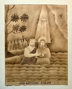 (Slave Art?) Original 19th C Folk Drawing JOHN BAPTIZING CHRIST By Eliz Hawkins