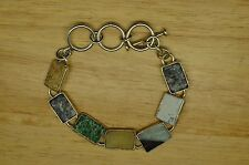 """7-8.5"""" 925 STERLING SILVER RECTANGLE VARIOUS AGATE LINK CHAIN BRACELET #X18682"""