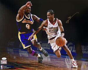 Allen Iverson Signed 16x20 Philadelphia 76ers Photo vs. Kobe JSA ITP