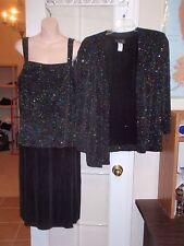 2 pc Alex Evenings Black Sparkle Formal Wedding Dress Jacket 18w 1x  2x Plus