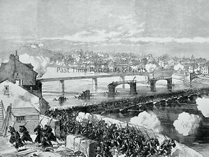 1871 Print FRANCE - COMMUNISTS ROUTED AT BRIDGE OF ASNIERES Franco Prussian War