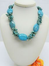 """TURQUOISE BEADED TWISTED MULTI STRAND NECKLACE 16"""""""