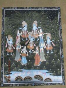 LG 1980's Lord Krishna Pichwai HINDU Traditional Hand PaintedCloth Wall Hanging