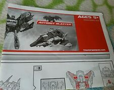Transformers UNIVERSE AUTOBOT BLASTER INSTRUCTION BOOKLET ONLY GREAT CONDITION
