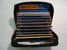 De Lujo de cuero suave Zip alrededor de crédito tarjeta titular Concertina Ventilador Estilo Negro