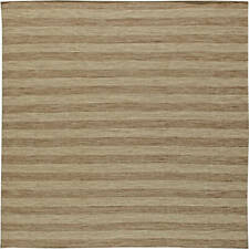 Contemporary Striped Earthy Brown Flat-Weave Wool Rug N11074