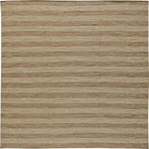 Contemporary Striped Earthy Brown Flat-Weave Wool Rug N11074