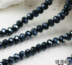 Faceted Rondelle Bicone Glass Crystal Loose DIY Beads Assorted 4mm 71pc 07
